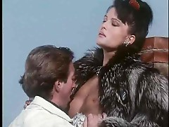 Chick fucked outdoors in a fur coat
