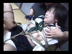 Japanese brunette girl played with by guys