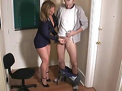 Chick in cop uniform giving a handjob
