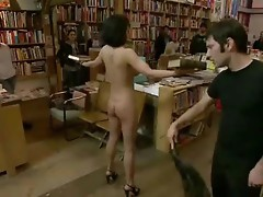 Brunette whore undressed and fucked in various public places in total humiliation