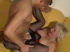 Horny blonde slut in stockings fucked