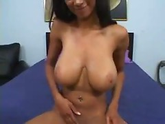 Skinny black chick with big natural tits fucking