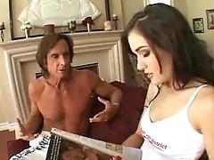 Two older guys fucking Sasha Grey hard