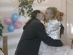 Bride in glasses has cock in her ass