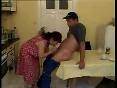 Chubby housewife fucked in pussy on table
