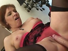 Humping a mature in cute lingerie