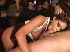 Girl fucked as a big audience watches