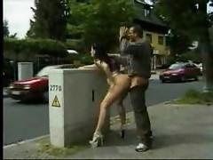 Wild couple has sex in public places