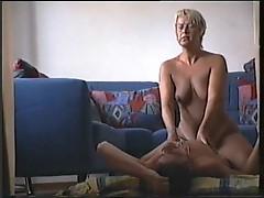 Couple having sex in living room
