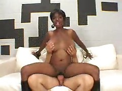 Black slut Stacey Adams does it with a white guy