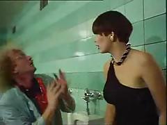 Weird scene in bathroom with enema