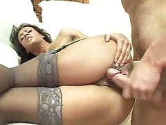 Mom undresses and he fucks her ass
