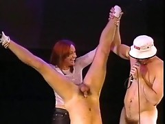 Naked guys do penile acrobatics
