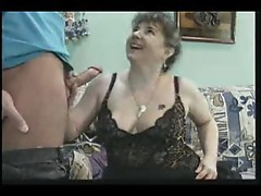 Giving horny mature in black lingerie good sex