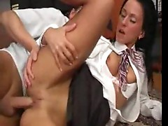 Stewardess fucked by pilot in office