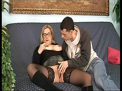 Mature in tasty stockings gives up ass