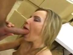 Girl in satin blouse giving head