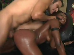 Baby oil and anal sex for a black slut