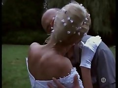 Naughty bride taken outdoors by two guys