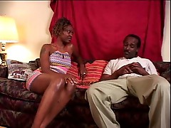 Black girl slowly rides his big black cock