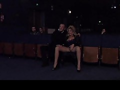 Girl in a movie theater sucking and being licked