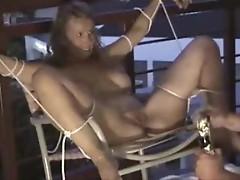 Adventurous bondage fun looks painful