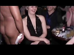 Babes at hen party blow the strippers