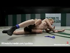 Tattooed babe dominated in female wrestling