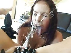 Gianna Michaels takes a facial spray of sticky sweet cunny honey