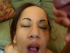Luscious Mya Mason gets her face splattered with spunk