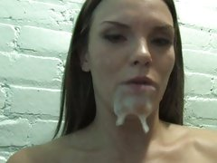 Mackenzee Pierce face filled with cum from cock on wall