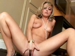 Scarlett Fay hot blonde spreads wide her pussy