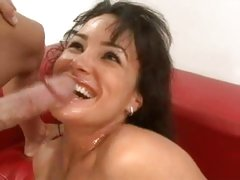 Busty babe Lisa Ann takes a good fucking and loves getting her face jizzed on.
