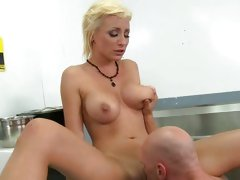 Lexi Swallow let waiter taste her cunt in the kitchen