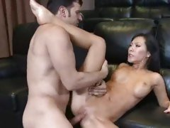 Asa Akira fucks like a whore with her legs spread nice and wide