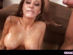 Super hot Mya Nicole gets awesomely jizzed all over after a hot group fuck