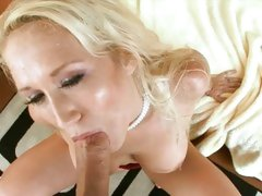 Alana Evans tattooed mom doing a hot blowjob