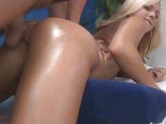 Brandy Blair gets oiled up then has her pussy stuffed with a cock