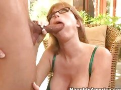 Blond milf Darla Crane opening her mouth with for a fat dick insertion