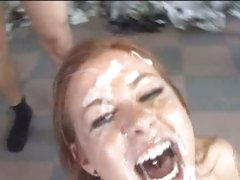 Scarlett Pain lusty babe got face filled with cum cream