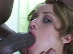 Raunchy brunette takes a massive prick down her throat