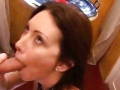 Dirty slut Rayveness fucks and sucks delivery boy