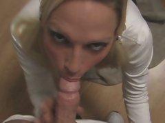 Nikki Hunter kneel at the altar of hot guy's hard cock