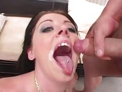 Sizzling Sophie Dee loves getting a mouth full off cum