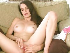 Brunette stunner plays with wet pink pussy lips