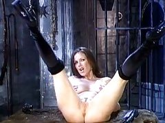 Kira Reed in black boots wide spread her legs