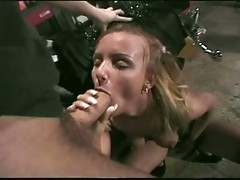 Horny blonde hottie bends hard for motorbike fucker
