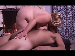 Busty blonde with huge tits fucked on her fat pussy
