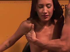 Brunette amia miley gets fucked in bus garage