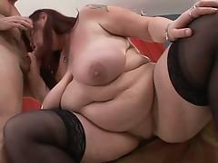 Chubby granny sucking on a nice hard cock !